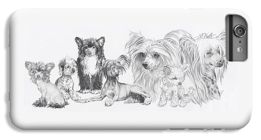 Toy Group IPhone 6 Plus Case featuring the drawing Growing Up Chinese Crested And Powderpuff by Barbara Keith