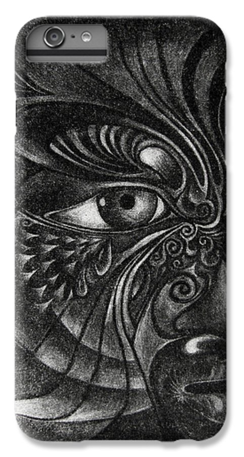 Mezzotint IPhone 6 Plus Case featuring the drawing Guardian Cherub by Otto Rapp