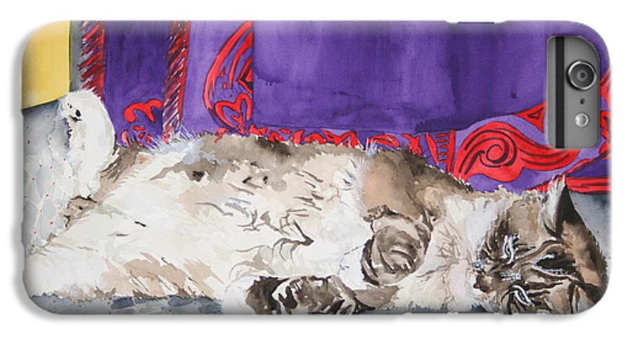 Cat IPhone 6 Plus Case featuring the painting Guilley by Jean Blackmer