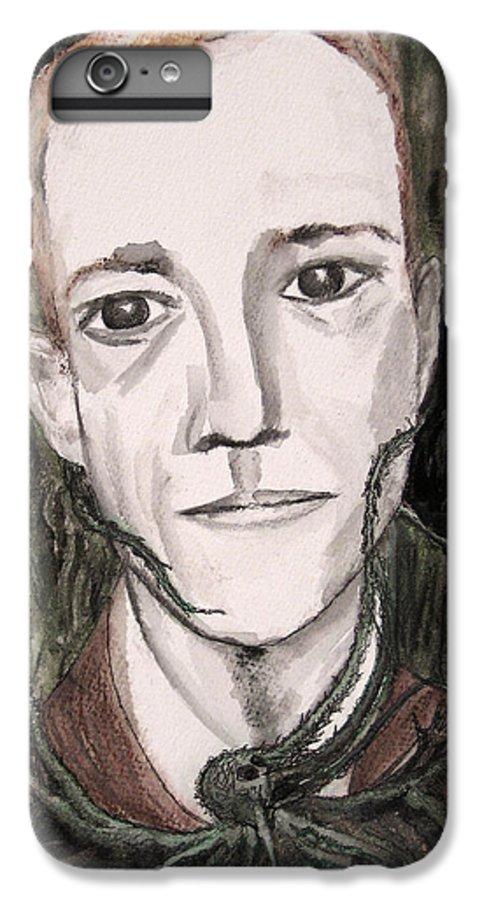 Artist Cthulhu Darkest Darkestartist Fiction H Horror Hp Lovecraft Macabre Man Mythos P Painting Por IPhone 6 Plus Case featuring the painting H P Lovecraft by Darkest Artist