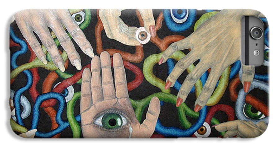 Collage IPhone 6 Plus Case featuring the drawing Hands And Eyes by Nancy Mueller