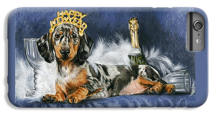 Dog IPhone 6 Plus Case featuring the mixed media Happy New Year by Barbara Keith