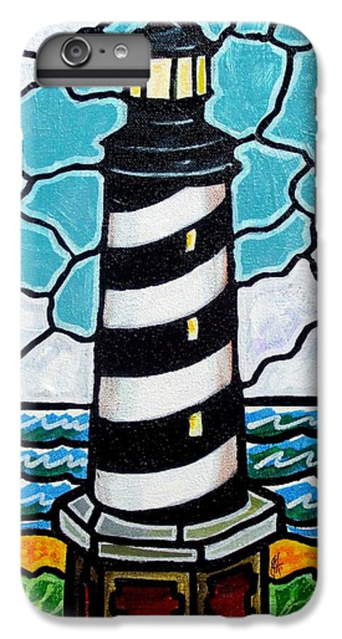 Lighthouse IPhone 6 Plus Case featuring the painting Hatteras Island Lighthouse by Jim Harris
