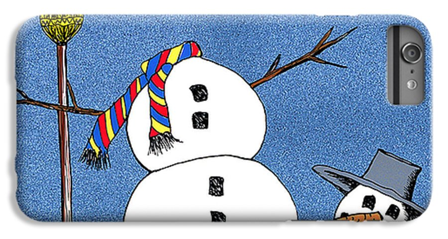 Snowman IPhone 6 Plus Case featuring the digital art Headless Snowman by Nancy Mueller