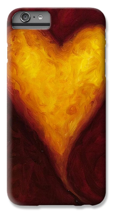 Heart IPhone 6 Plus Case featuring the painting Heart Of Gold 1 by Shannon Grissom