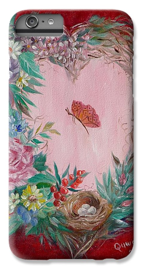Heart IPhone 6 Plus Case featuring the painting Heart Wreath by Quwatha Valentine