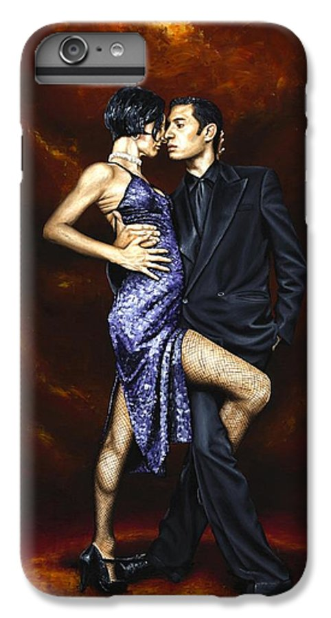 Tango Dancers Love Passion Female Male Woman Man Dance IPhone 6 Plus Case featuring the painting Held In Tango by Richard Young