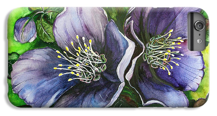 Flower Painting Botanical Painting Original W/c Painting Helleborous Painting IPhone 6 Plus Case featuring the painting Helleborous Blue Lady by Karin Dawn Kelshall- Best