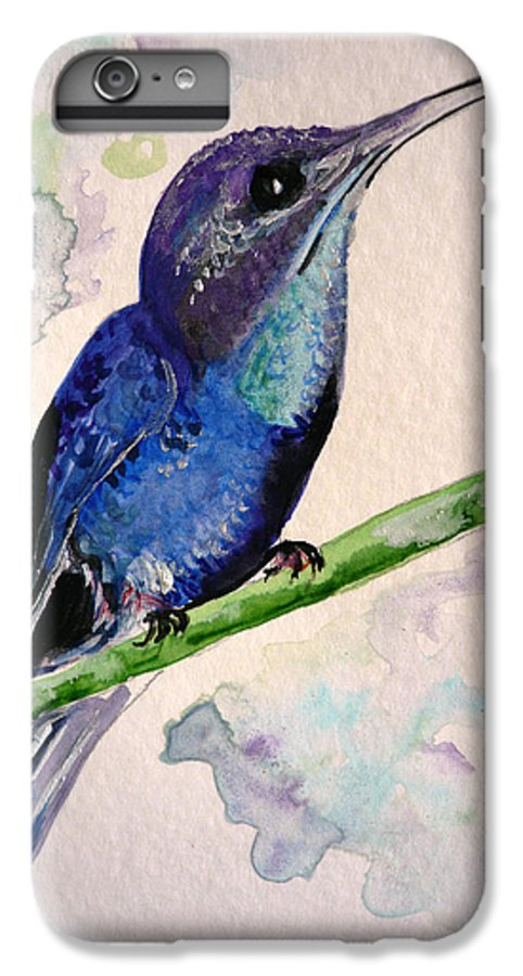 Hummingbird Painting Bird Painting Tropical Caribbean Painting Watercolor Painting IPhone 6 Plus Case featuring the painting hHUMMINGBIRD 2  by Karin Dawn Kelshall- Best