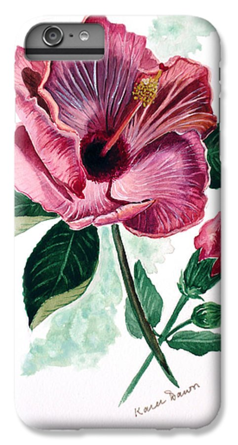 Flora Painting L Hibiscus Painting Pink Flower Painting Greeting Card Painting IPhone 6 Plus Case featuring the painting Hibiscus Dusky Rose by Karin Dawn Kelshall- Best