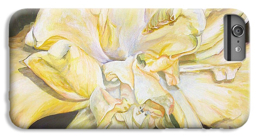 Floral Painting IPhone 6 Plus Case featuring the painting Hibiscus Jaune by Muriel Dolemieux