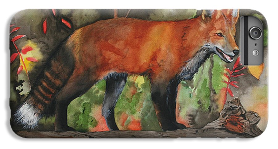 Fox IPhone 6 Plus Case featuring the painting Hiding In Plain Sight by Jean Blackmer