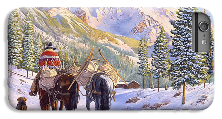 Horses IPhone 6 Plus Case featuring the painting High Country by Howard Dubois