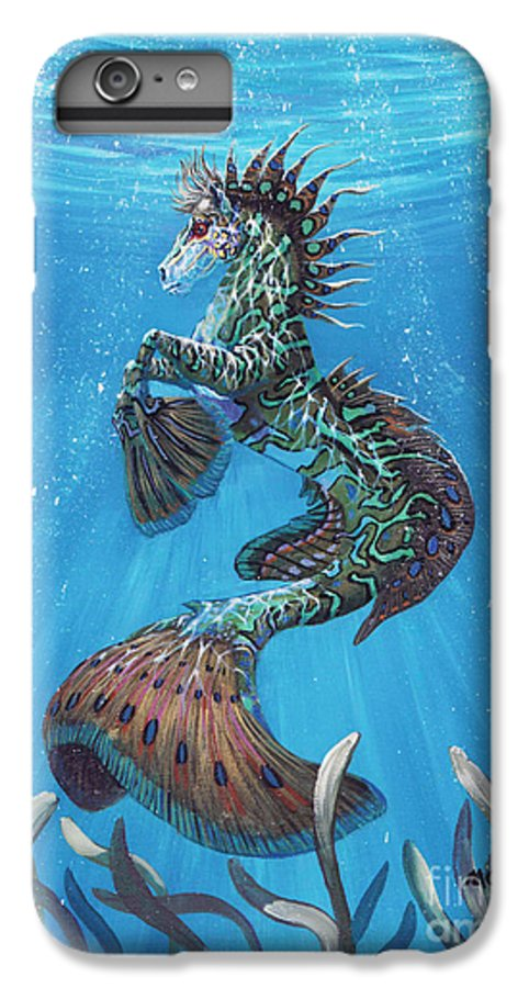 Seahorse IPhone 6 Plus Case featuring the painting Hippocampus by Stanley Morrison