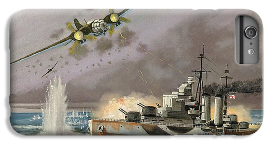 Ships That Never Were IPhone 6 Plus Case featuring the painting Hms Ulysses Attacked By Heinkel IIis Off North Cape by Glenn Secrest