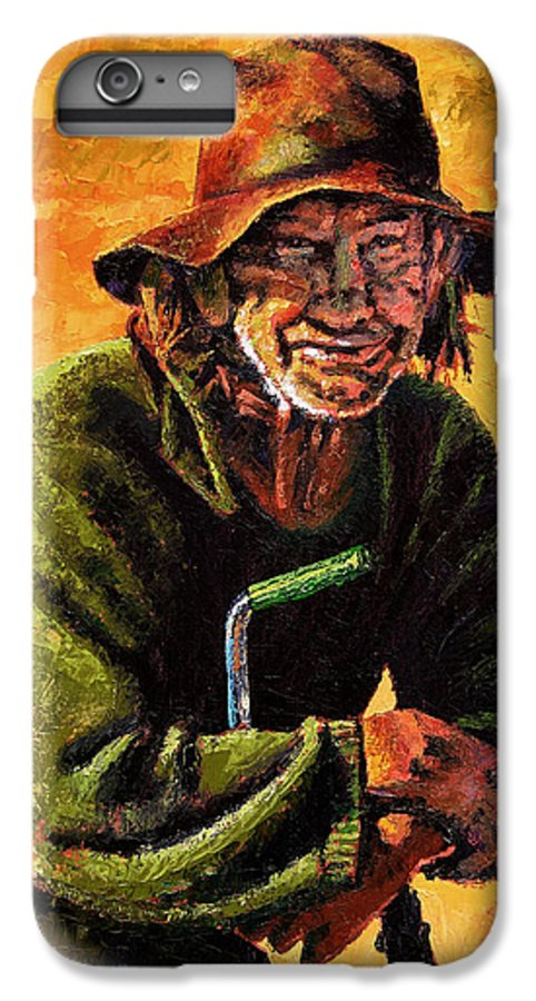 Homeless Man With Bike IPhone 6 Plus Case featuring the painting Homeless by John Lautermilch