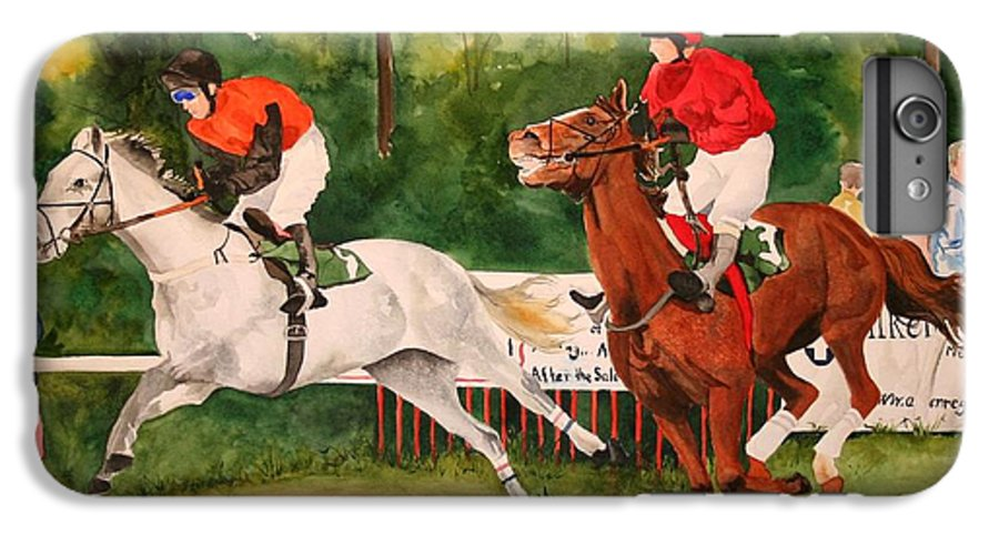 Racing IPhone 6 Plus Case featuring the painting Homestretch by Jean Blackmer