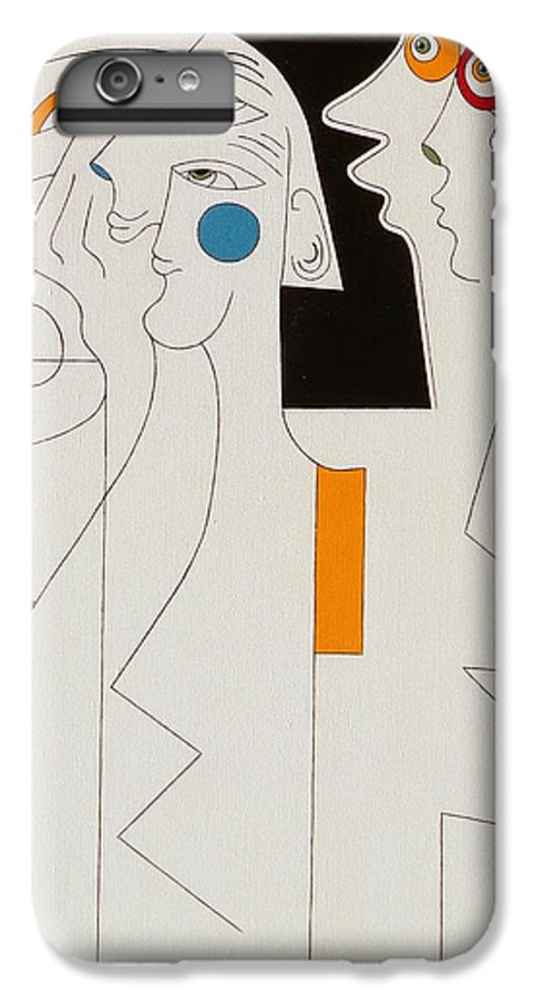 Horror People Eyes Modern Humor White IPhone 6 Plus Case featuring the painting Horror by Hildegarde Handsaeme