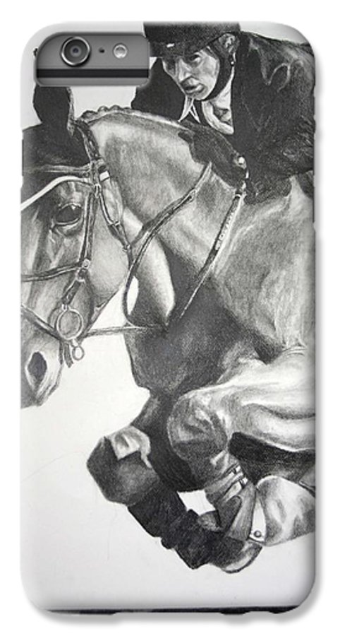 Horse IPhone 6 Plus Case featuring the drawing Horse And Jockey by Darcie Duranceau