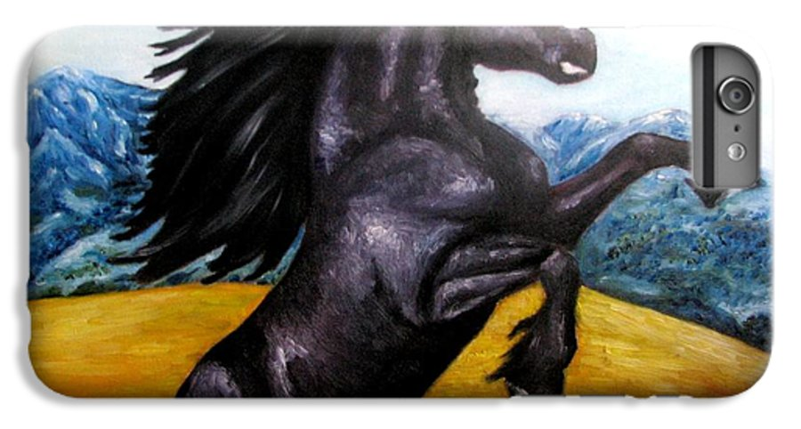 Horse IPhone 6 Plus Case featuring the painting Horse Oil Painting by Natalja Picugina