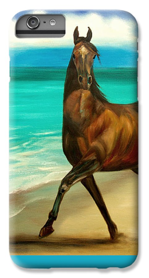 Horse IPhone 6 Plus Case featuring the painting Horses In Paradise Dance by Gina De Gorna