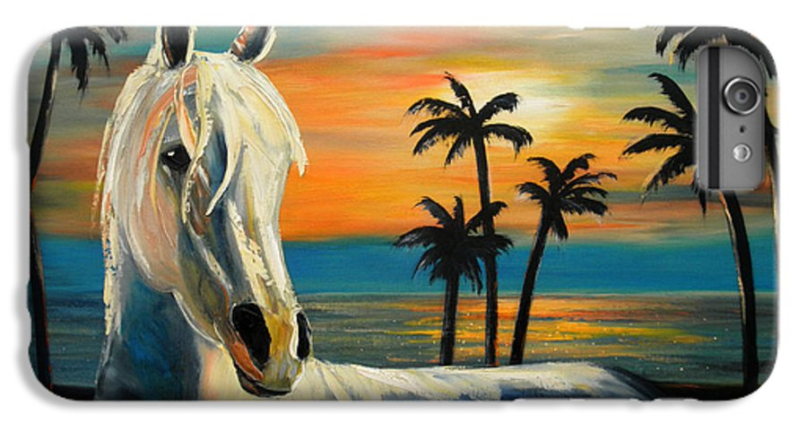 Horse IPhone 6 Plus Case featuring the painting Horses In Paradise Tell Me Your Dream by Gina De Gorna