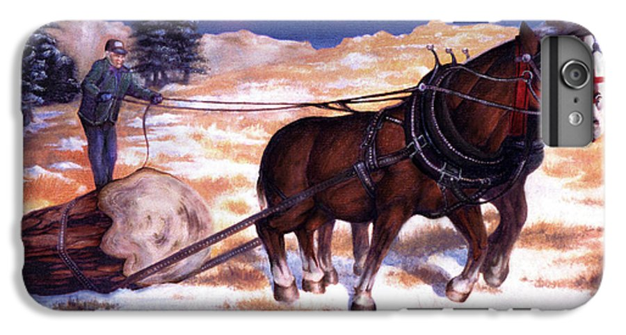 Horse IPhone 6 Plus Case featuring the painting Horses Pulling Log by Curtiss Shaffer
