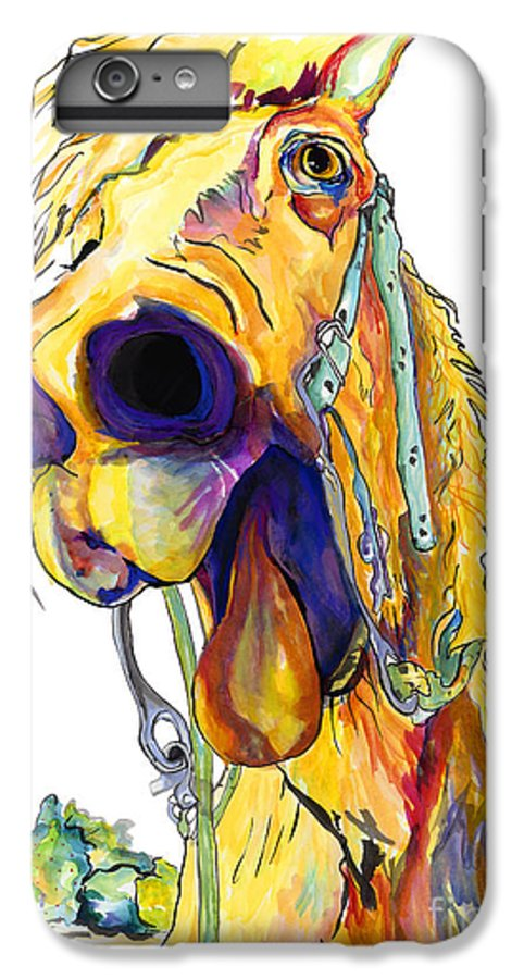 Animal Painting IPhone 6 Plus Case featuring the painting Horsing Around by Pat Saunders-White