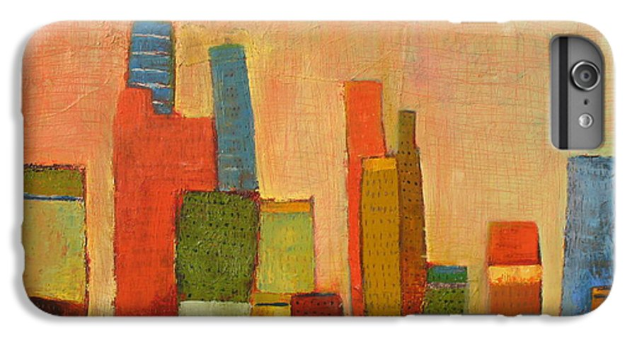 Abstract Cityscape IPhone 6 Plus Case featuring the painting Hot Manhattan by Habib Ayat