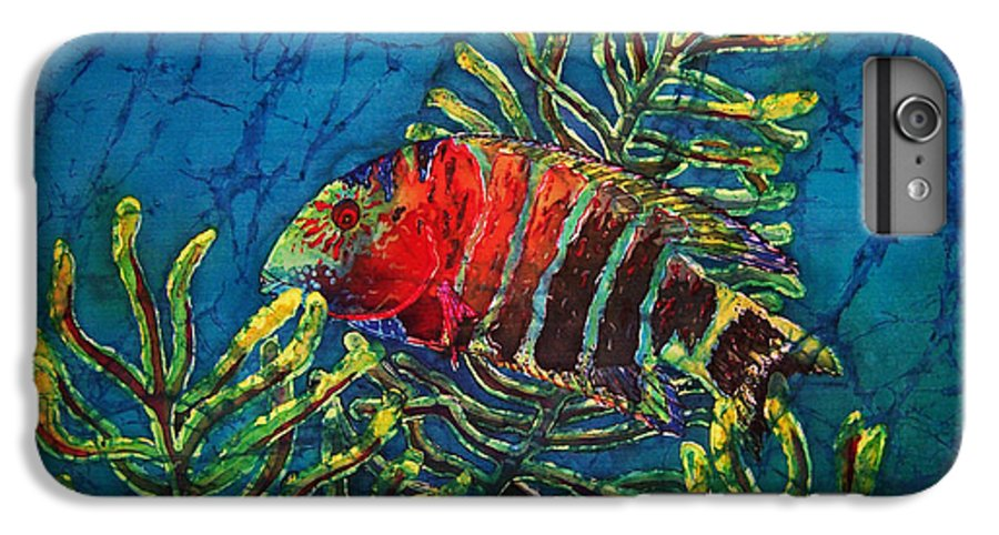 Fish IPhone 6 Plus Case featuring the painting Hovering - Red Banded Wrasse by Sue Duda