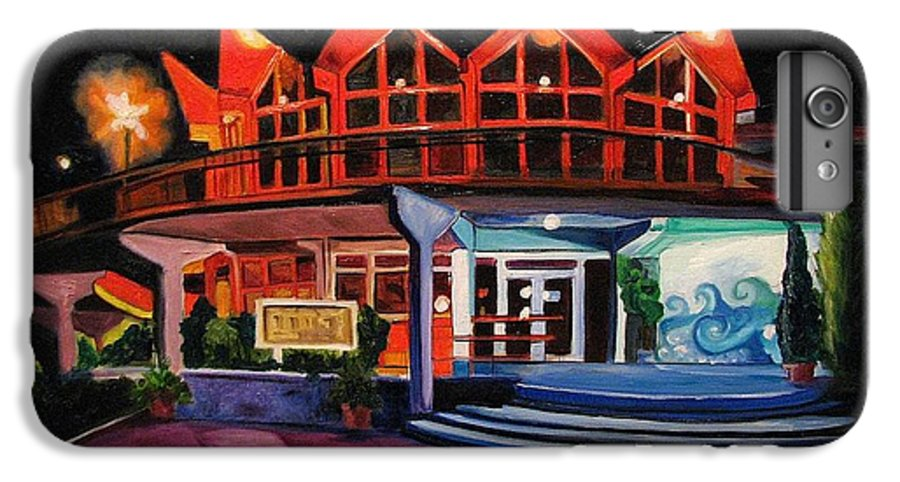 Asbury Art IPhone 6 Plus Case featuring the painting Howard Johnsons At Night by Patricia Arroyo