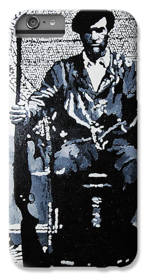 Black Panther IPhone 6 Plus Case featuring the painting Huey Newton Minister Of Defense Black Panther Party by Lauren Luna