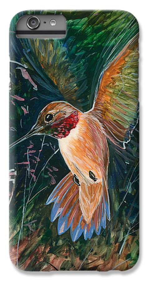 Hummingbird IPhone 6 Plus Case featuring the painting Hummingbird by Shari Erickson