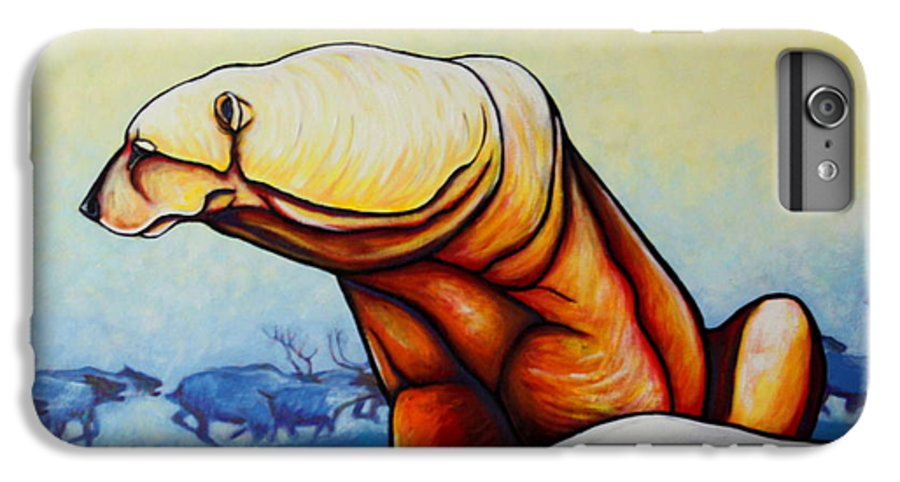 Wildlife IPhone 6 Plus Case featuring the painting Hunger Burns - Polar Bear And Caribou by Joe Triano