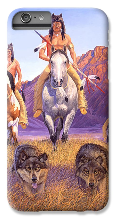 Indian Art IPhone 6 Plus Case featuring the painting Hunters Of The Full Moon by Howard Dubois