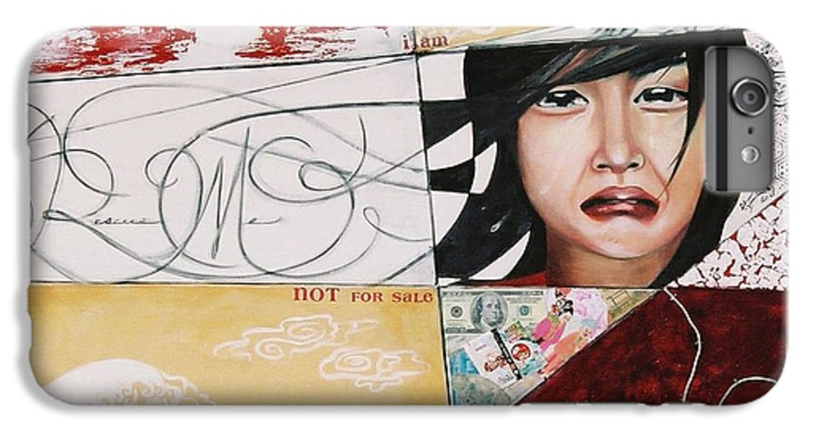 Asian Girl IPhone 6 Plus Case featuring the painting I Am Not A Tourist Attraction by Teresa Carter