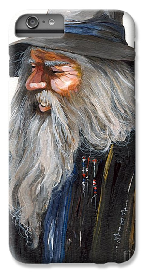 Fantasy Art IPhone 6 Plus Case featuring the painting Impressionist Wizard by J W Baker