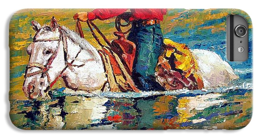 Cowboy IPhone 6 Plus Case featuring the painting In Deep Water by John Lautermilch