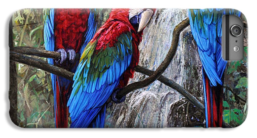 Macaws IPhone 6 Plus Case featuring the painting In Front Of The Cascade by Gabriel Hermida