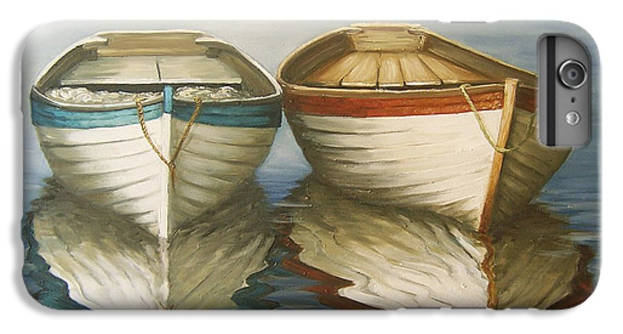 Seascape Ocean Reflection Water Boats Sea IPhone 6 Plus Case featuring the painting In Touch by Natalia Tejera