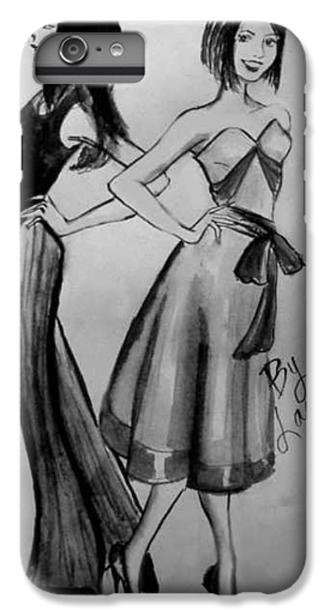 Fashion IPhone 6 Plus Case featuring the drawing Ink Ladies by Laura Rispoli
