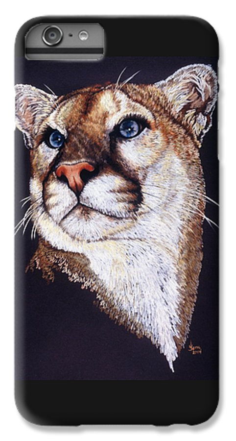 Cougar IPhone 6 Plus Case featuring the drawing Intense by Barbara Keith