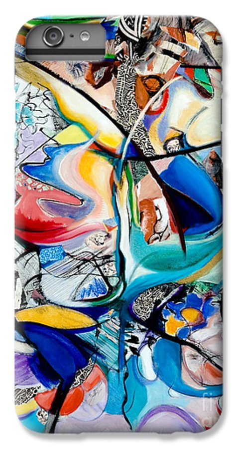 Abstract IPhone 6 Plus Case featuring the painting Intimate Glimpses - Journey Of Life by Kerryn Madsen-Pietsch