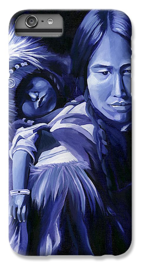 Native American IPhone 6 Plus Case featuring the painting Inuit Mother And Child by Nancy Griswold