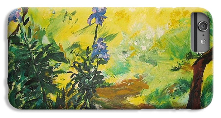 Sunlight IPhone 6 Plus Case featuring the painting Irises And Sunlight by Lizzy Forrester