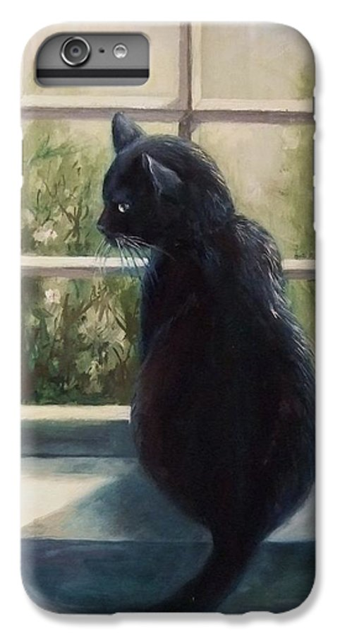 Cat IPhone 6 Plus Case featuring the painting Isabella's Window by Ruth Stromswold