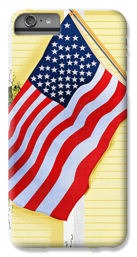 U.s. Flag IPhone 6 Plus Case featuring the painting It Will Fly Until They All Come Home by Anne Norskog
