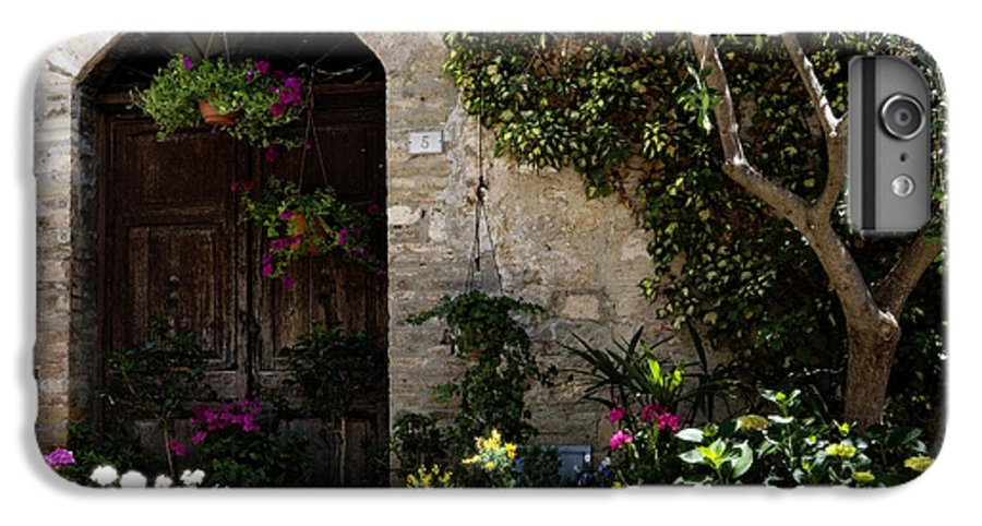 Flower IPhone 6 Plus Case featuring the photograph Italian Front Door Adorned With Flowers by Marilyn Hunt