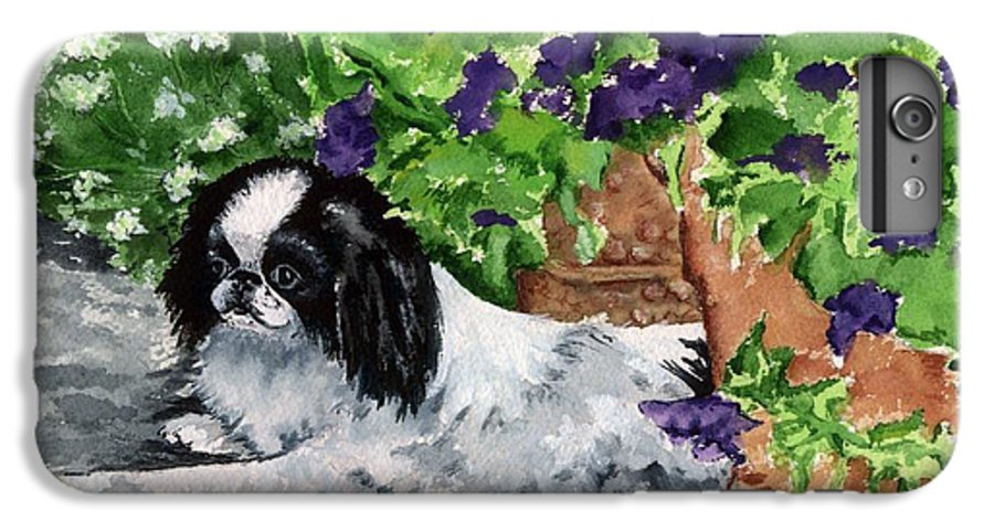 Japanese Chin IPhone 6 Plus Case featuring the painting Japanese Chin Puppy And Petunias by Kathleen Sepulveda