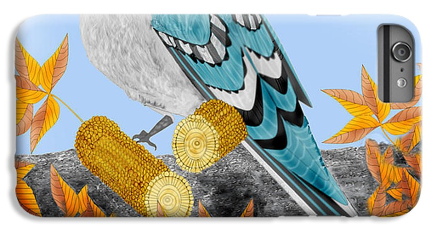 Jay Bird IPhone 6 Plus Case featuring the painting Jay With Corn And Leaves by Anne Norskog